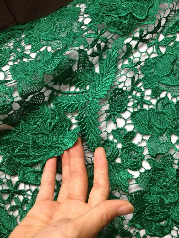Emerald Lace Fabrics Green Crocheted Lace Fabric Bridal Lace