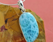 AAA Larimar Pendant in .925 Sterling Silver with 1mm Chain Free