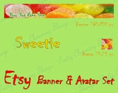 SWEETIE Etsy Shop Set Banner Avatar, Digital Images, Bookmarks, Gift Tags, Art Projects, Premade