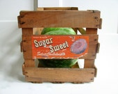 Sugar Sweet cantaloupe wooden crate