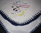 Nursery Rhyme Embroidered Fleece Receiving Blanket - Cow Jumped Over The Moon