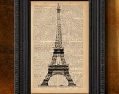 "Tour Eiffel, Paris - Art print 6 x 9"" - Upcycled dictionary print - Buy 3 prints get 4th FREE"