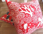 RESERVED for Beth - 20 x 20 Red Pillow Cushion Covers. Red Bird. Forest. Modern Retro Throw Pillows. Set of 2. 20 x 20
