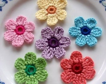 6 Crochet  Flowers In Pink, Yellow, Purple, Green, Blue,Coral  YH - 026