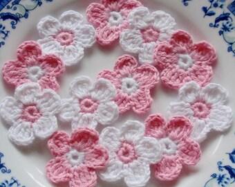 12 Crochet  Flowers In White, Pink  YH - 027-07