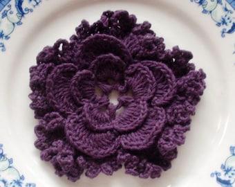 Crochet Flower in 3 inches in Plum YH - 043