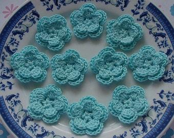 10 Crochet Flowers In Aqua YH-030-016