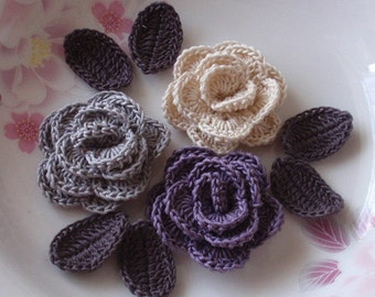 3 Crochet  Roses With Leaves YH - 065-02