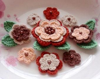 Crochet Flowers With Leaves In Lt Peach, Cream, Brown, Dark Red  YH-003-04