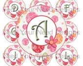 "Floral Polka Dot Digital Alphabet, Red, Pink, Orange, Green, 1"" Circles for Bottlecaps, Stickers, Magnets, Hair Bows, Instant Download"