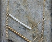 Chevron Necklace, Glass Swarovski Pearls, 14k gold filled Necklace AD1326X