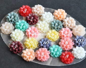 13 PCS Resin Cabochon 14mm Mini Crysanthemum Flower Cabochons Beautiful Colors Supplies For Handmade Vintage Jewelry Embellishment---RF9-Mix