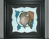 Buffalo Art Print Bison Art Print - Buffalo with Ornament - Watercolor Painting - 7 x 7 square