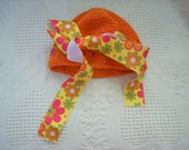 orange flower power beanie hat fits size 4 - 8 months adjustable WOWZIE