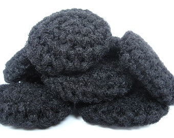 Crochet Pot Scrubbers 3 Black Nylon Scrubbies