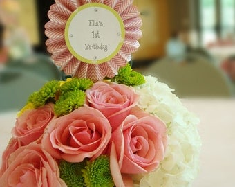 Handmade Pink & Green Rosette lovely Centerpieces with Embellishment