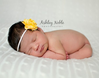 Yellow Satin Mesh Flower Headband Yellow Photography Prop