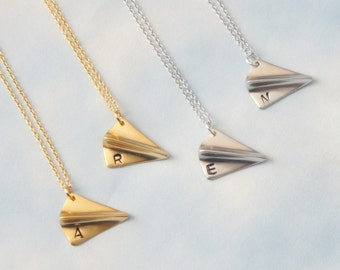 Personalized Initial Airplane Necklace, Simple necklace, Everyday Necklace, Gift Jewelry