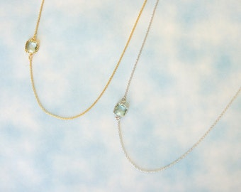 Sideway Glass Stone Necklace. Everyday Necklace. Simple Necklace.