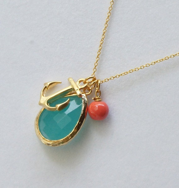 Mint Gold Framed Glass, Anchor Pendant and coral bead Necklace
