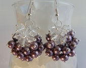 Chunky Dark Purple Glass Pearl Earrings with Clear Swarovski Crystals Sterling Silver