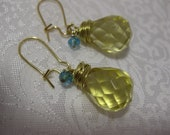 for Her,Yellow Citrine Crystal, Yellow Earrings, Green Crystal, Womens Jewelry