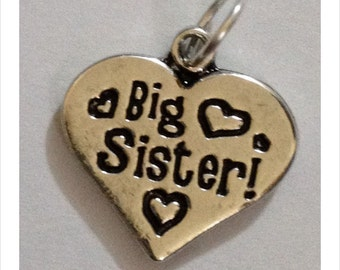 Big Sister charm heart pendant for bracelets necklace key ring many uses