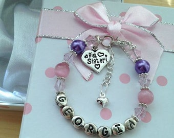 personalised girls big sister little sisterry charm bracelet Any name or age