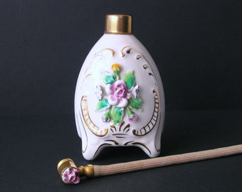 Perfume Vintage Bottle - White Porcelain with Pink Flowers