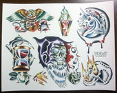 Wizards: Traditional Tattoo Flash Sheet