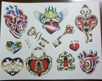 Hearts and Keys: Traditional Tattoo Flash Sheet