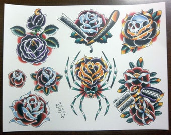 Roses: Traditional Tattoo Flash Sheet
