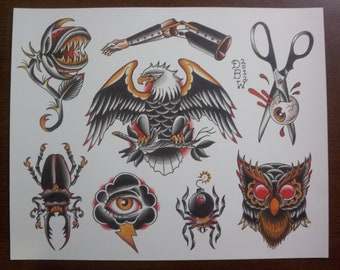 Oddities: Traditional Tattoo Flash Sheet