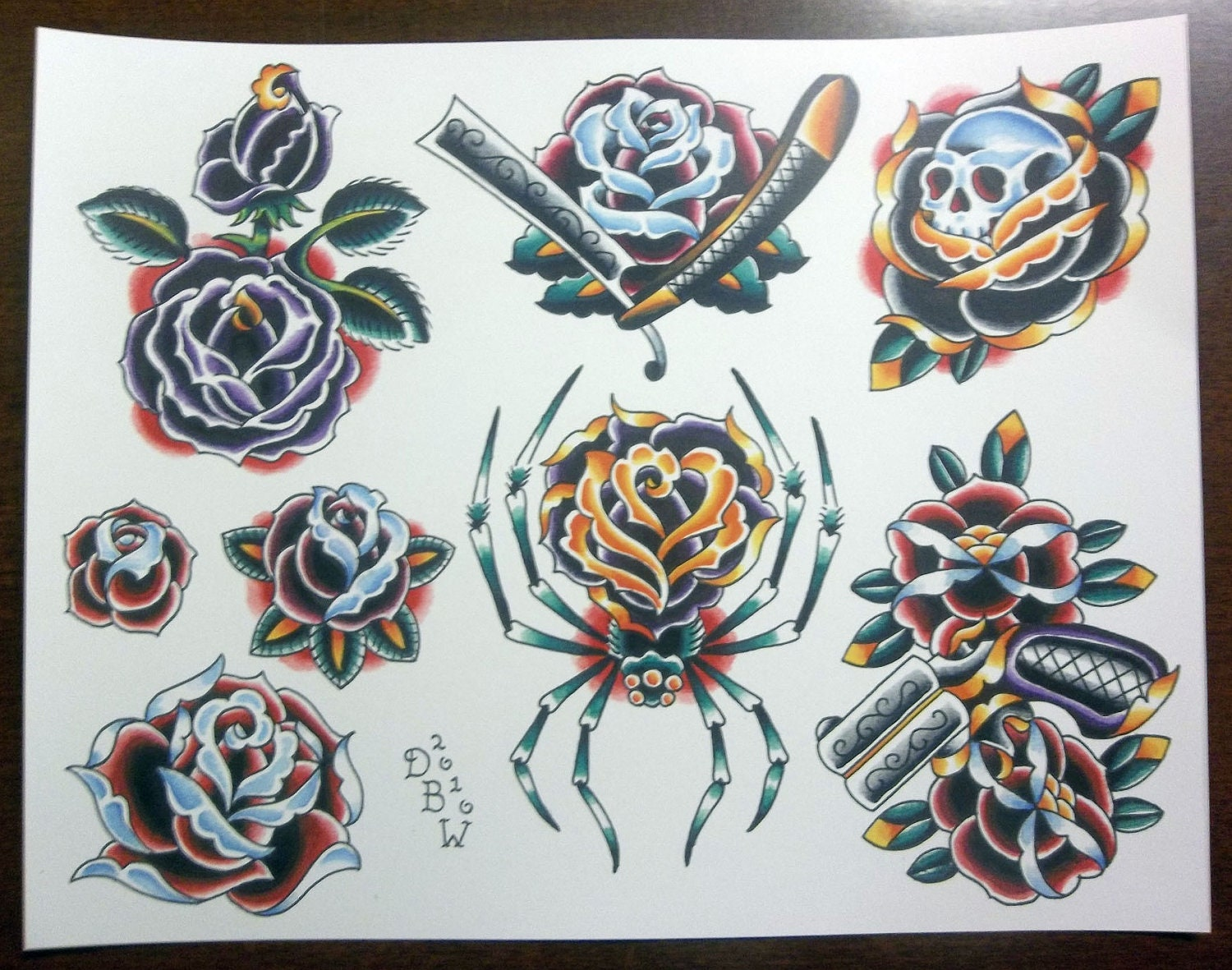 roses traditional tattoo flash sheet. Black Bedroom Furniture Sets. Home Design Ideas