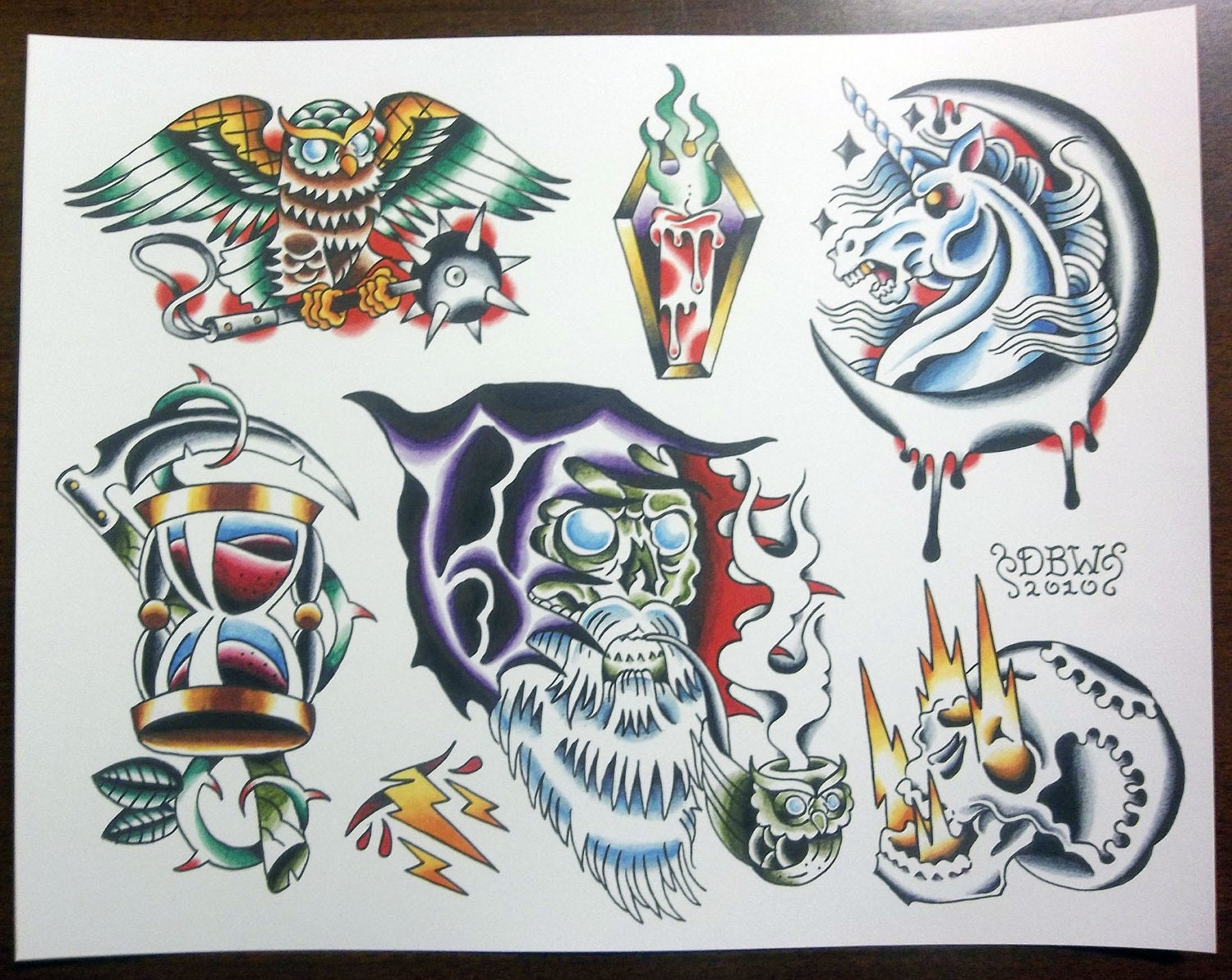wizards traditional tattoo flash sheet. Black Bedroom Furniture Sets. Home Design Ideas