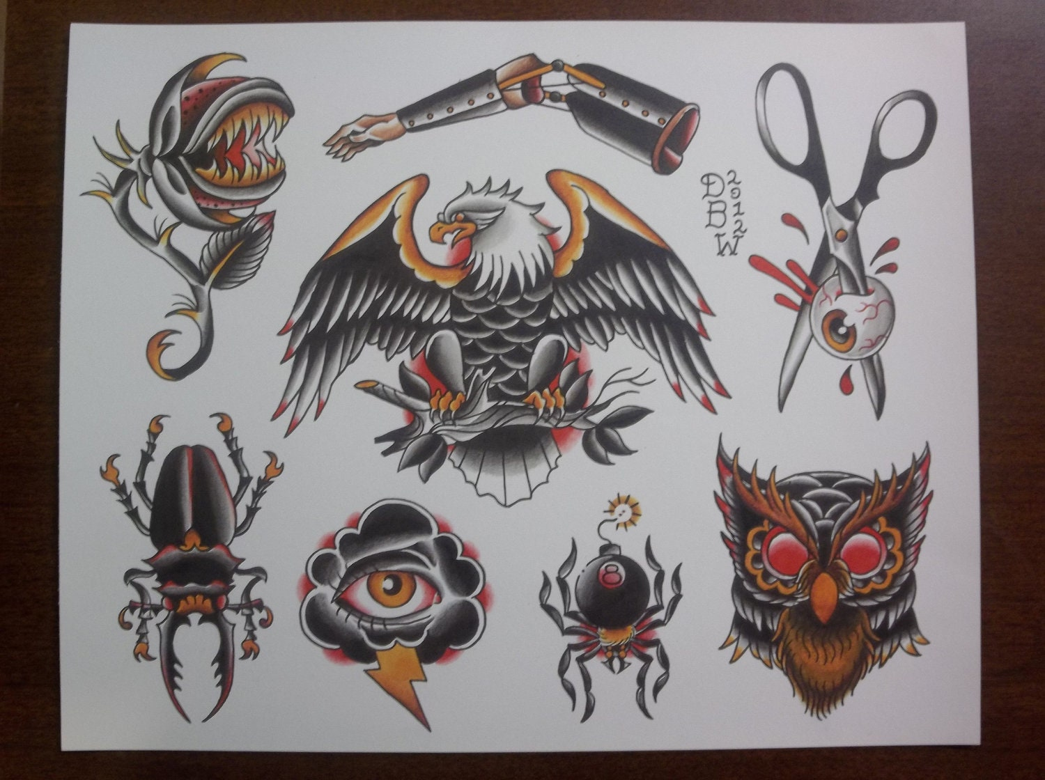 oddities traditional tattoo flash sheet. Black Bedroom Furniture Sets. Home Design Ideas
