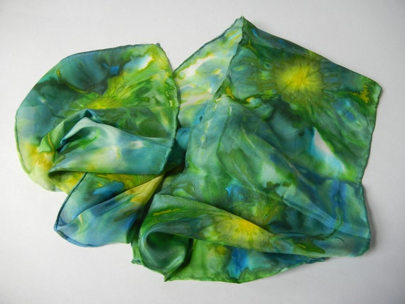 Hand painted silk scarf, Green, Yellow, Blue, Floral, Sea, Ocean, Watercolor, Hippie, Wearable Art, Gift