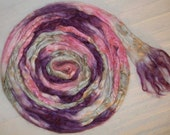 Mulberry Bombyx Silk Sliver Roving Hand Dyed Purple Pink Silver Gray and White