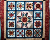 Quilted Star Sampler Teal Red Gold Quilt Floral Pieced Quilt