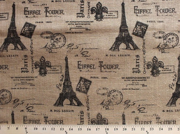 Burlap Paris Eiffel Tower 47 Printed Jute Burlap Fabric