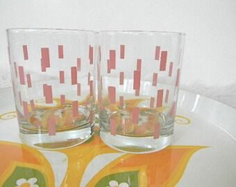 SALE pair of midcentury glasses geometric pink shapes