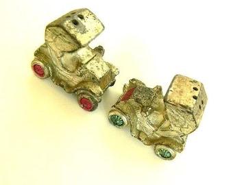 vintage mini metal car salt and pepper shakers
