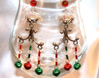 Christmas Chandelier Earrings with Silver Round Flat Bead and Red & Green Dangle Beads/ Ornate Christmas Earrings/ Womens Christmas Jewelry