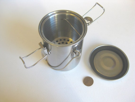 Stainless steel brush washer - airtight - utilitarian gift for artist - silver grey - solvent container - useful gift