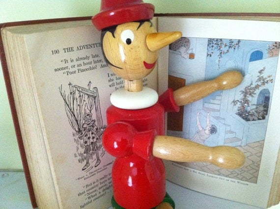 RESERVED FOR ANGELA Vintage Tall Wooden Pinocchio Jointed Doll