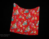 "Hand painted small silk scarf ""Roosters"""