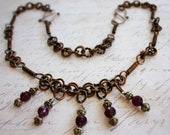 Womens Necklace Wire Wrapped Copper Purple Crystals Antiqued