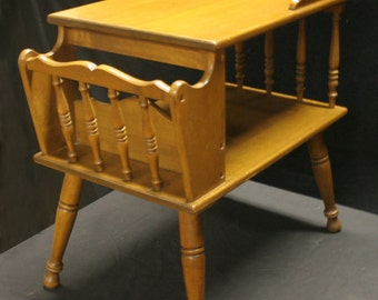 Vintage Magazine Spindle Side End Table