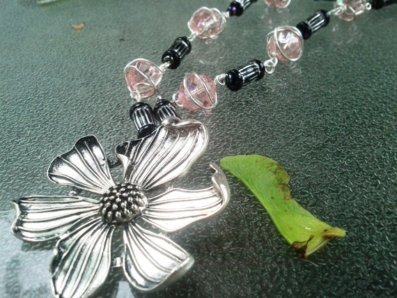 Flower Pendant and Sterling Silver Wire Wrapped Light Pink beads, And Black and Silver Beads