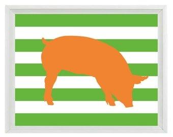 Pig Farm Animal Silhouette Art Print Set - Orange Green Stripes Kitchen Nursery Children Kid Room Wall Art Home Decor